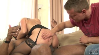 Wife riding black cock while husband watches and masturbates Shemale transsexual