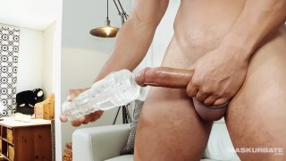 Solo first straight toy male time muscle masturbates big straight