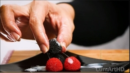 Handjob + cum on candy berries! (Cum on food 3)