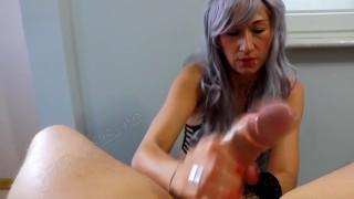 Femdom Perfect Handjob With Balls Squeezing Huge Cumload  mother balls squeeze big cock cumshot masturbate mom