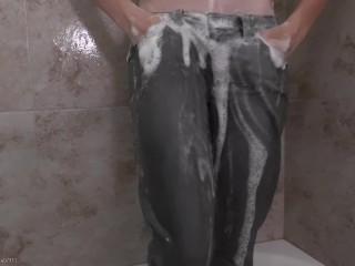 Ashleys Wet Jeans - Ashley Lane Gets Her Grey Levis Wet & Sudsy