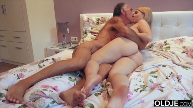 Nympho suck - Nympho sucks grandpa cock and has sex with him in her bedroom