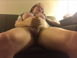 BBW Tranny Wendy Strokes in Hotel and Shoots Load