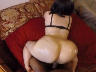 Submissive chick in black bra sucks cock & takes it hard!