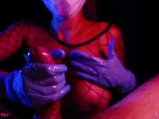 Slutty nurse stroking dick in gloves