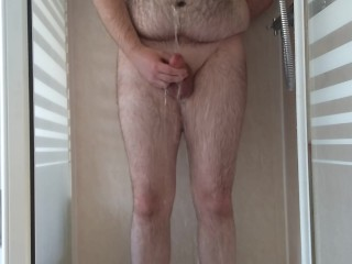 Hairy Young Cub Showering and Covering Himself in Pee