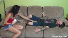 Bratty Step Sister Busts Brothers Balls