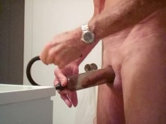 Pumping my cock and balls