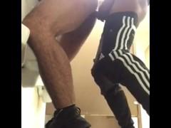 Teens fuck in school bathroom