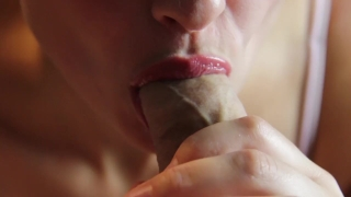 Romantic blowjob and foreskin play - licking frenulum Head shaved