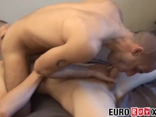 Young Euro twink bare fucked until he tastes hot cum