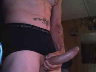 Jerking my cock while the wife is cleaning house