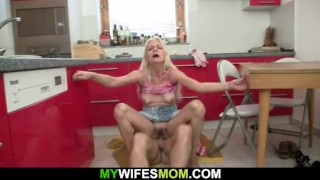 She finds her old mother riding young cock