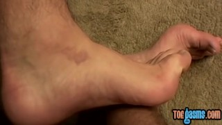 Young foot fetishist enjoys wanking off his stiff cock Raw missionary