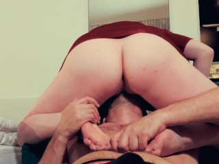 Dildo forced into pussy facefuck orgasm and screaming doggystyle big ass ginger in red dress r