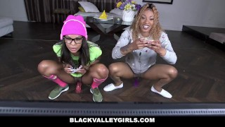 BlackValleyGirls - Gamer Black Girls Share White Cock Butt bj