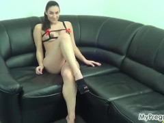 Pregnant Janetta Plays with Her Hairy Young Pussy!
