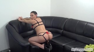 Pregnant Janetta Plays with Her Hairy Young Pussy! Taboo and