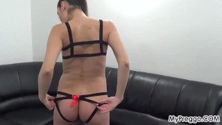 Pregnant Janetta Plays with Her Hairy Young Pussy! Masturbate hardcore