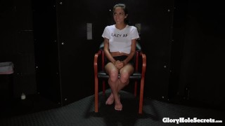 Tiny Destiny Lovee makes strangers cocks happy in the gloryhole  sloppy spit blowjob cum in throat little tits gloryholesecrets tiny blowjob young kink interracial petite gagging deepthroat latin teenager spinner cum shot