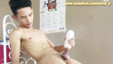 Asian Boy Jerking Off with a Masturbator