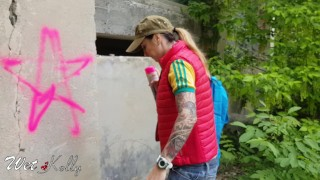 Graffiti caught owner fucked cum a and girl receive mouth by in cum mouth