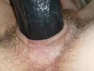 Masturbation|Black dildo for cunt