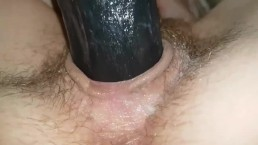 Masturbation|Black dildo for cunt