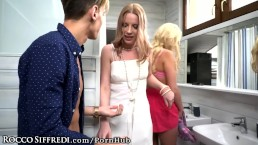Euro Girl Kicks Out Blonde Russian Teen & Swallows Cumshot!