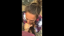 Fast blowjob during a hike with Eva