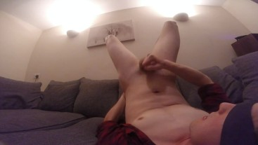 Hot twink jerks off and cums in his own mouth