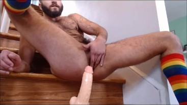 Huge Anal Ride on StairCase for FTM TransMan