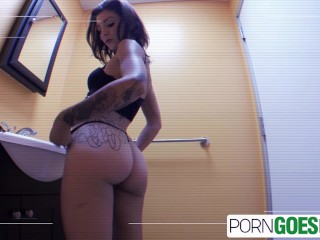 PornGoesPro - Big booty Amiee Black is punished by a big hard dick