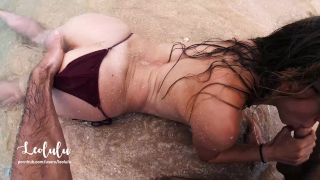 Sex on the Beach! Wild Fucking on an Island - Amateur Couple LeoLulu Plugs monster