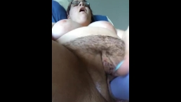 Solo girl covers her pussy in cum