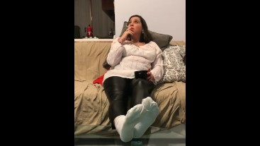 Foot fetish smoking with white socks