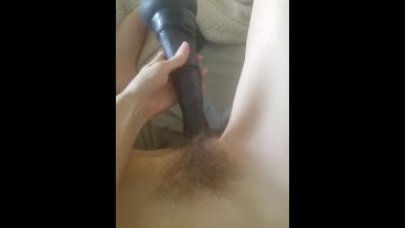 Tiny girl teases herself with bbc horse dildo