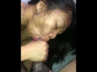 Amateur Asian milf sucks black cock