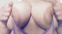 Curvy blonde in purple g string
