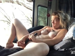 Porn star with big boobs in fucking position