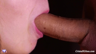 MILF Blowjob and Swallow Closeup - Cristall Gloss Yoga sexy
