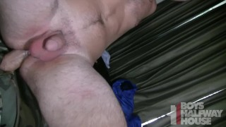 His gets stud hole cracked wide straight open tight big way
