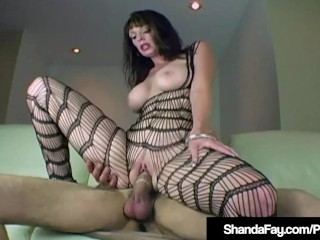 Cougar Shanda Fay Fucks Throbbing Cock In Body Stocking!