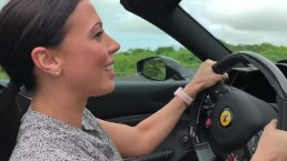 Rachel Starr drives a Ferrari