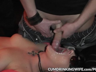 Naughty wife gangbanged by plenty of men