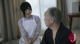 Young girl takes really good care of old man