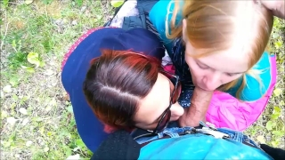 The сity public blowjob joined a stranger park at threesome cum 3some
