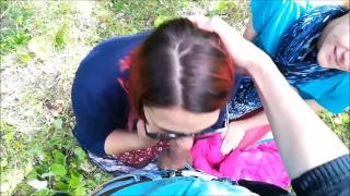 Public Threesome at the Сity Park: Stranger joined a Blowjob Pov sex