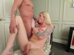 Morgan Sucks some Cock and Gets her Shemale Ass Fucked - Trans500
