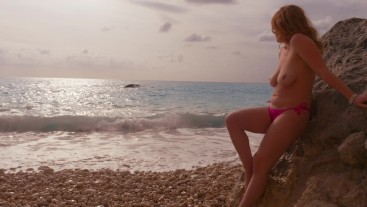 Romantic Public Beach Sunset Blowjob by Awesome Busty Redhead Teen Amateur